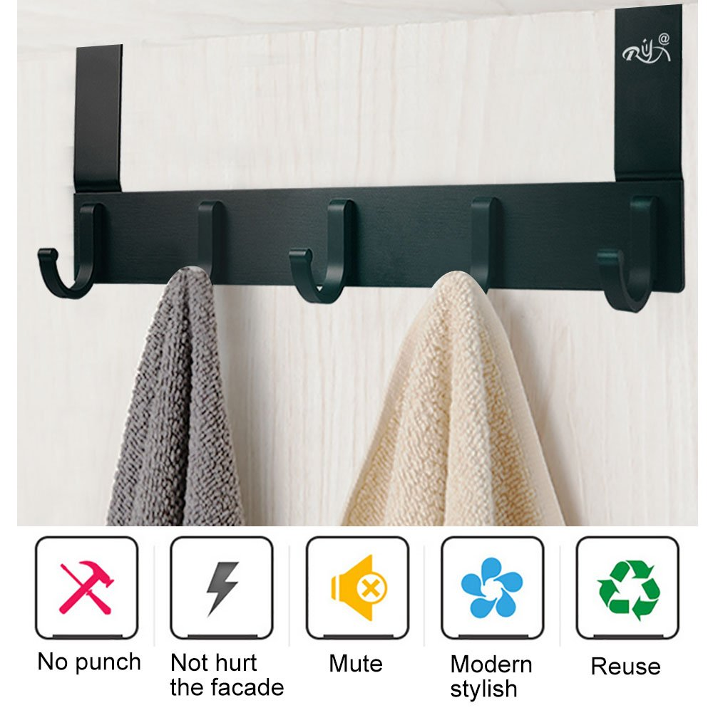 Over The Door Hooks,Rongyuxuan Pack 2 Heavy Duty Over The Door 5 Hooks Organizer Rack,Decorative Organizer Hooks for Clothes Coat Hat Belt Towels,Home or Office Use by Rongyuxuan (Image #3)