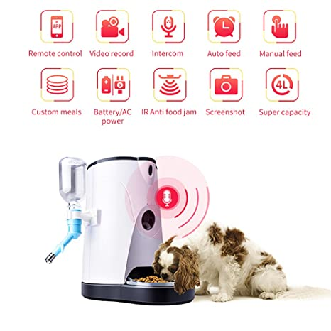 Alimentador Mascotas Automático Inteligente Dispensador Agua Y Comida Con Cámara Wifi HD En Tiempo Real Para