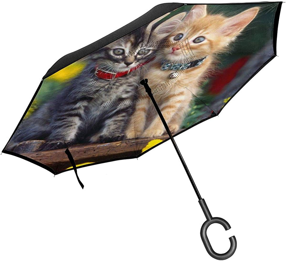 Reverse Umbrella Double Layer Inverted Umbrellas For Car Rain Outdoor With C-Shaped Handle Animal Cat Cute Flower Kitten Customized