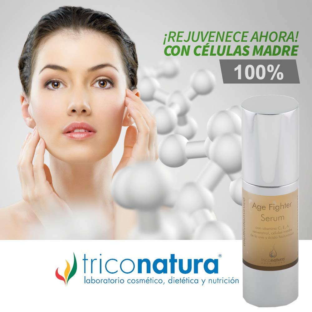 Serum Facial con ácido hialurónico, Vitamina C Resveratrol Aloe de Vera y Células madre de la Uva formula total Anti envejecimiento Anti arrugas Anti ...
