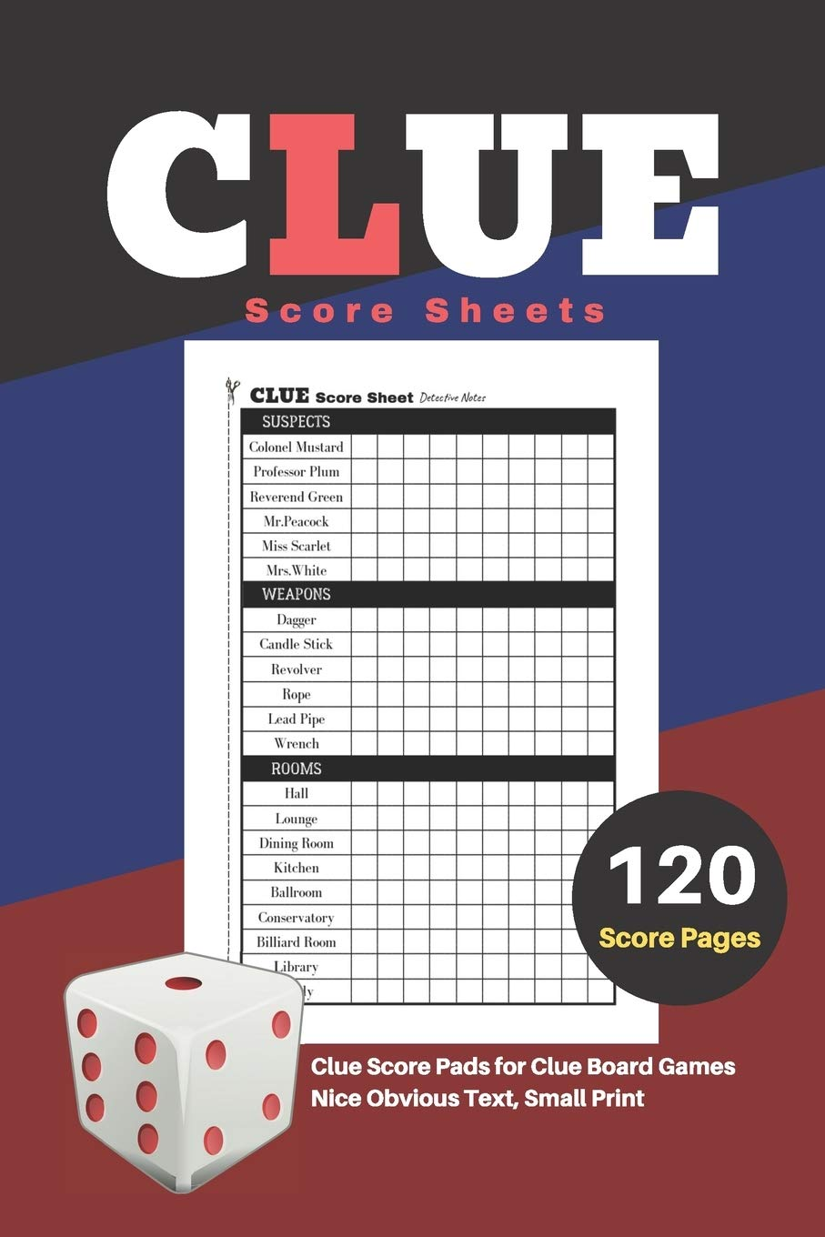 Clue Score Sheets: V.1 Clue Score Pads for Clue Board Games Nice Obvious Text, Small Print 6*9 inch, 120 Score pages: Amazon.es: Scoresheet, DHC: Libros en idiomas extranjeros