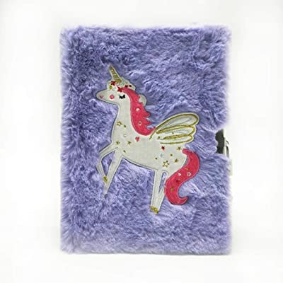 Green Sun Plush Notebook with Lock and Embroidery by Pure Handcrafted (Purple): Toys & Games