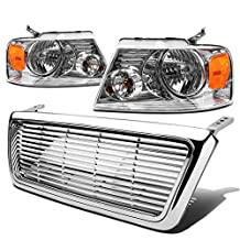 Ford F150/Lincoln Mark LT Pair of Chrome Housing Amber Corner Headlight+Chrome Front Grille