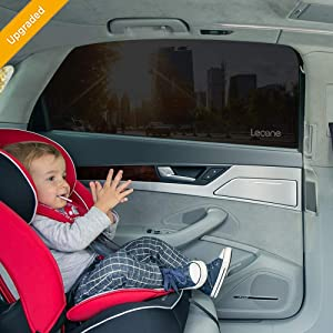 Lecone Upgraded Car Window Shade, 2nd Generation Reusable Perforated Static Cling Tint Film, Electrostatic Self-Adhesive Sun Blocker Screen for Vehicle(2Dots&2No Dots)