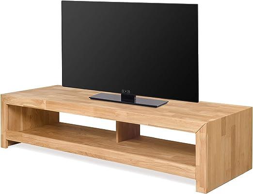 NORDICSTORY Mesa de TV Kirea de Madera Maciza Roble, Mueble Moderno Estilo y Diseño Nordico Escandinavo, Ideal para Salon (140 x 50 x 35 cm, Roble Natural): Amazon.es: Hogar