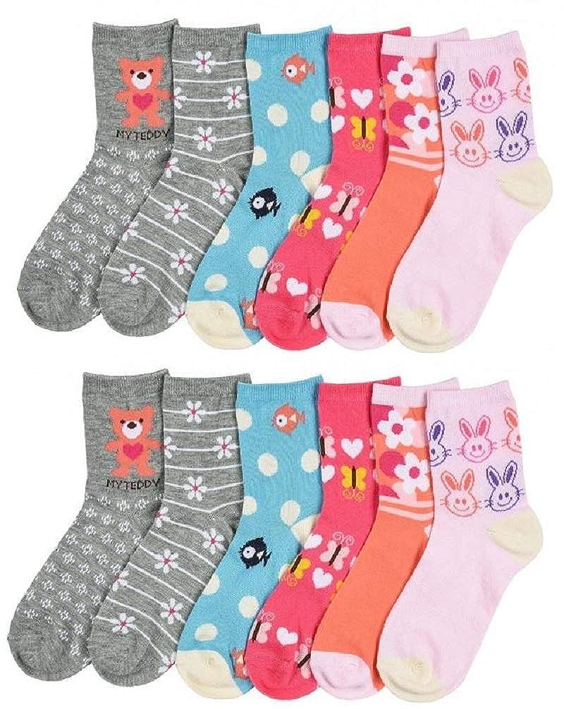 I/&S 12 Pairs Girls Kids Novelty Fashion Designs Fun Colorful Pack Crew Socks