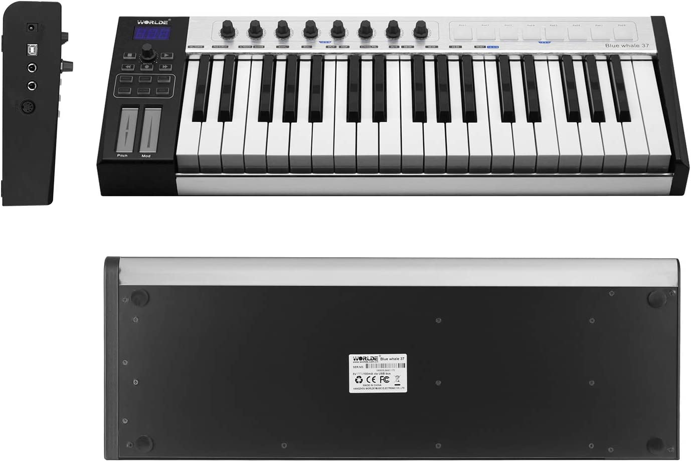 WORLDE Blue whale 37 Portable USB MIDI Controller Keyboard 37 Semi-weighted  Keys 8 RGB Backlit Trigger Pads LED Display with USB Cable: Amazon.co.uk:  Musical Instruments