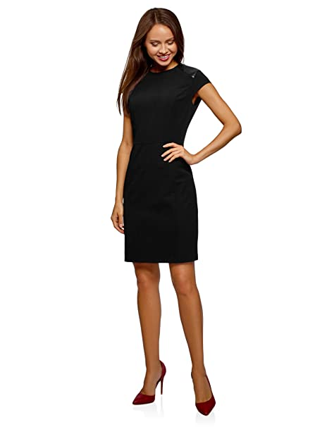 e4f519cef194 oodji Collection Donna Abito Aderente con Inserti in Similpelle  Amazon.it   Abbigliamento