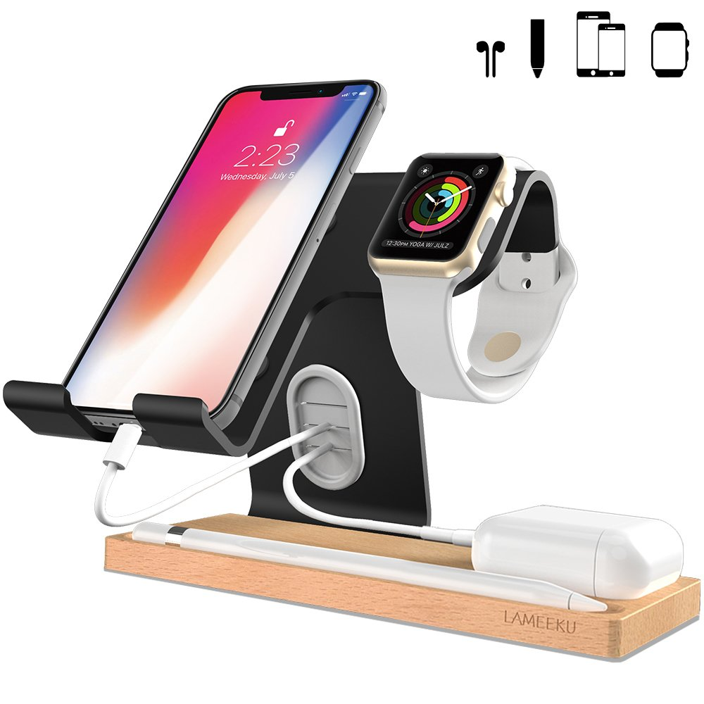 LAMEEKU Compatible Cell Phone Stand Replacement for Apple Watch Stand, Desktop Cell Phone Stand For all Android Smartphone, iPhone X 6 6s 7 8 Plus, Samsung, Apple Watch 38mm 42mm, iPad Airpods - Black