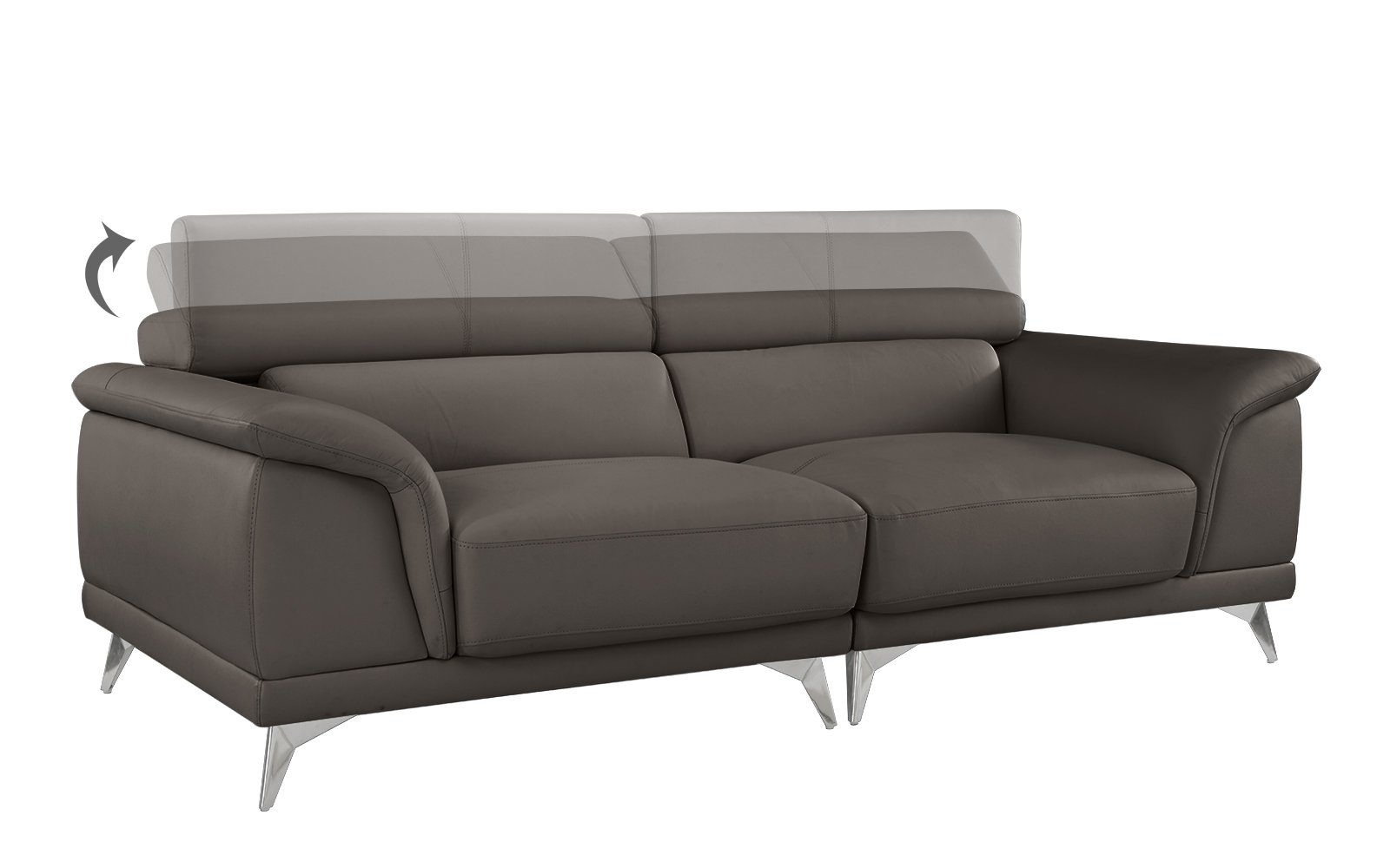 Divano Roma Furniture Modern Living Room Sofa with Adjustable Headrest (Grey) - Modern style couch featuring adjustable headrests to add a touch of modernism and functionality that is sure to make a statement. This living room sofa is upholstered in leather match on hardwood frame with steel chrome legs. Arm rests are designed to give this sofa a unique look and feel; the seats and back rest are are filled with firm foam made to last. - sofas-couches, living-room-furniture, living-room - 61EC 56U hL -