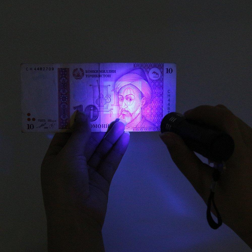 SmartHitech UV 9 LED torcia torcia multifunzione Mini lega di alluminio con corda in lega di luce ultravioletta luce viola torcia luce lampada Nero