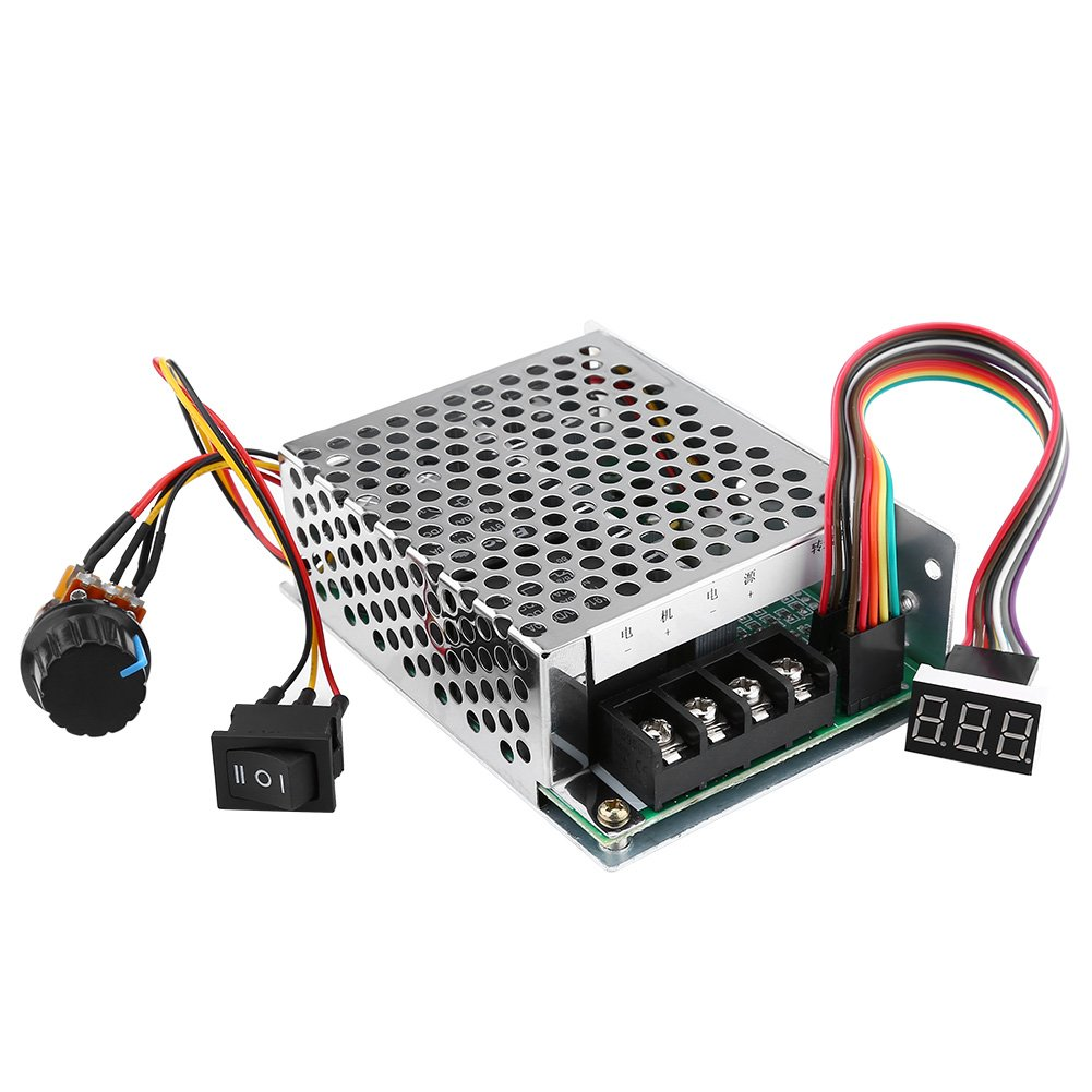 Motor Speed Controller, DC10V-55V PWM Brushed DC Motor Speed Controller Adjustable Driver CW CCW Reversible Switch With Digit Display