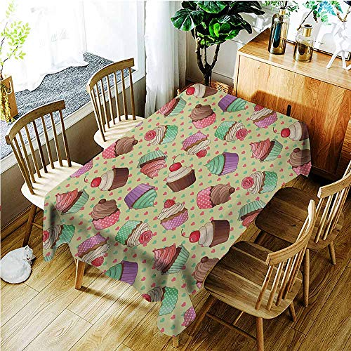 - TT.HOME Elastic Tablecloth Rectangular,Coffee Coffee Shop Bakery Inspired Tasty Cupcake Pattern on a Polka Dot Hearts Backdrop,Resistant/Spill-Proof/Waterproof Table Cover,W50x80L,Multicolor