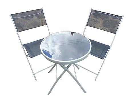 Juego de mesa y 2 sillas para jardín plegables, de metal, diseño bistró, color negro