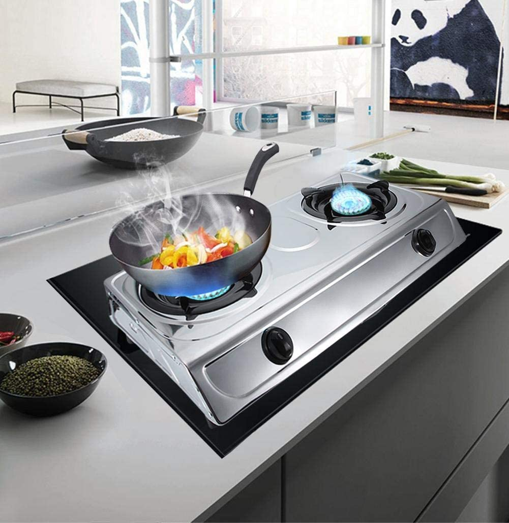 wosume Stainless Double Burner Gas Stove
