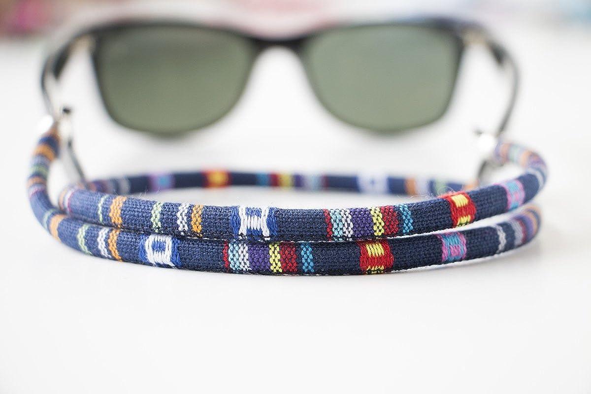 motivo etnico colore Cordino rotondo per occhiali blu navy//rosso