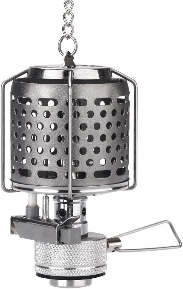 Docooler174; Mini Portable Camping Lantern Gas Light Tent Lamp Torch Hanging Metal Lamp-chimney Butane 80LUX