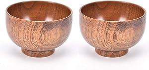 MOTZU 2 Pieces Jujube Wooden Bowl, Japanese Natural Wood Rice Noddle Soup Bowl, Grain/Natural Snack Bowl Serving Dish Food Container Tableware Bowl