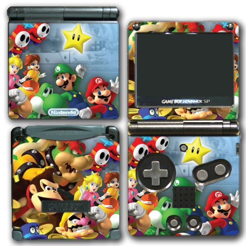 Super Mario Party Friends Island Tour Shy Guy Peach Yoshi Luigi Star Daisy Wario Bowser Video Game Vinyl Decal Skin Sticker Cover for Nintendo GBA SP Gameboy Advance System