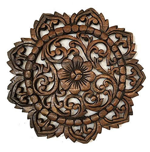 (Asiana Home Decor Rustic Wall Decor-Carved Lotus Round Wood Plaque Size 12
