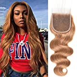 Mothers' Day Gift for Mom Peruvian Virgin Human Hair Blonde Colored 4x4 Lace Closure #27 Body Wave Human Hair Closure (10inch)