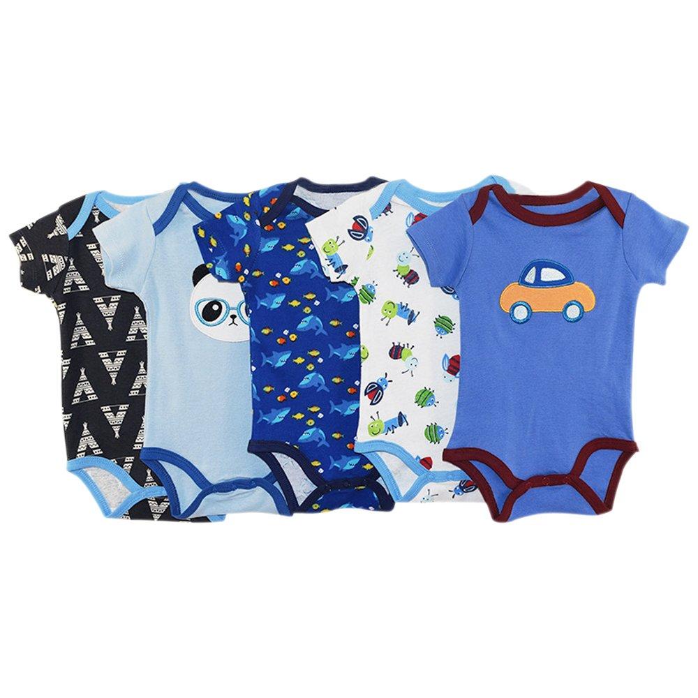 BOZEVON Confezione da 5 Baby Ragazzi Ragazze 100% Cotone Manica Corta Body Fumetto Infantile Vestiti Rampicanti Pagliaccetto