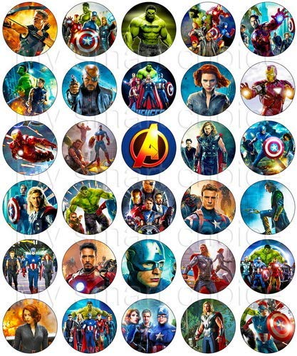 30 x Edible Cupcake Toppers - Avengers Movie Party Collection of Edible Cake Decorations | Uncut Edible Prints on Wafer -