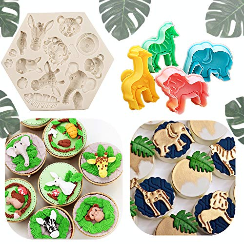 Jungle Animal Cupcakes - JeVenis Set of 5 Jungle Safari Animal Cake Mold Jungle Safari Animal Cupcake Decoration Jungle Animals Cookie Cutters Jungle Safari Animal cake Decoration for Jungle Safari Animal Party Baby Shower