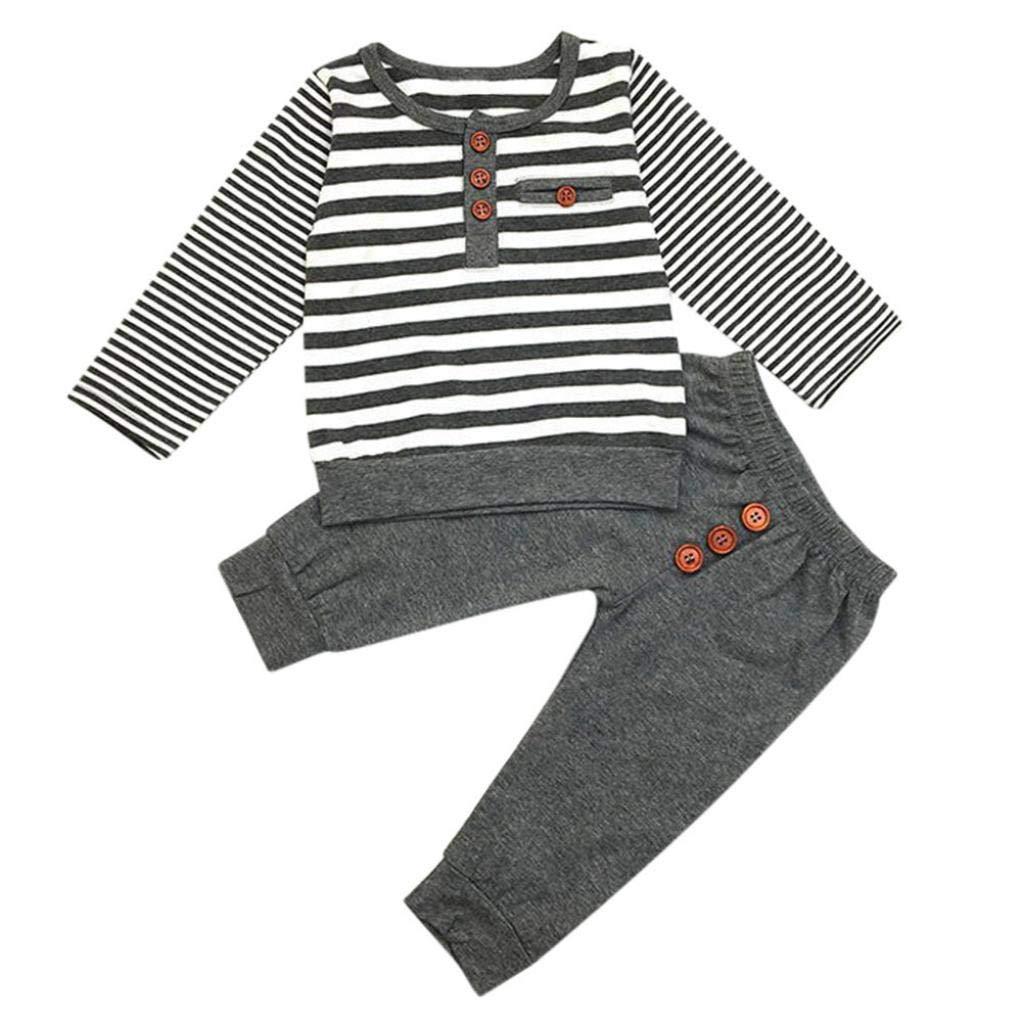 Conjunto Bebé, RETUROM 2018 Moda Conjuntos Niño Ropa Bebe Rayas Camiseta T-Shirt Tops y Pantalones Cortos Conjunto de Ropa