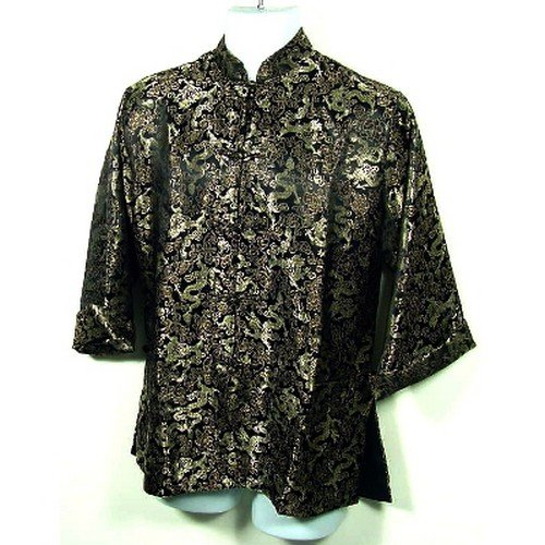 Black Gold Dragon Brocade Kung Fu Jacket, Size S