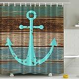 Anchor Shower Curtain BROSHAN Wooden Barn Door Shower Curtain, Nautical Marine Anchor Fabric Bathroom Curtains,Rustic Country Waterproof Shower Curtain Bath Set,Brown,Aqua, Cyan,72 x 72 inch