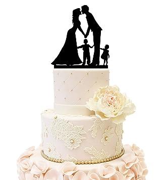 Amazon Com Wedding Anniversary Cake Topper Couple With Kids