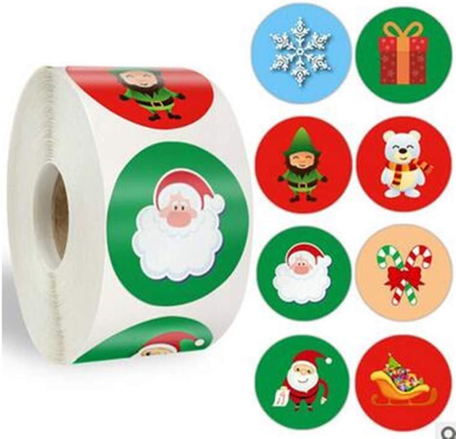 500Pcs Christmas Tree Snowman Santa Adhesive Baking Stickers Tags Envelope