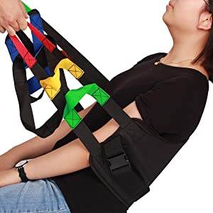 Kangwell Patient Lift Belt Assistance Belt with 5 Colors Handles(73Inch) | Standing Transfer Sling For Elderly,Pediatric, Bariatric, Non-Slip Lifting Pad, for Medical Assistance, Occupational and Physical Therapy. (Black)