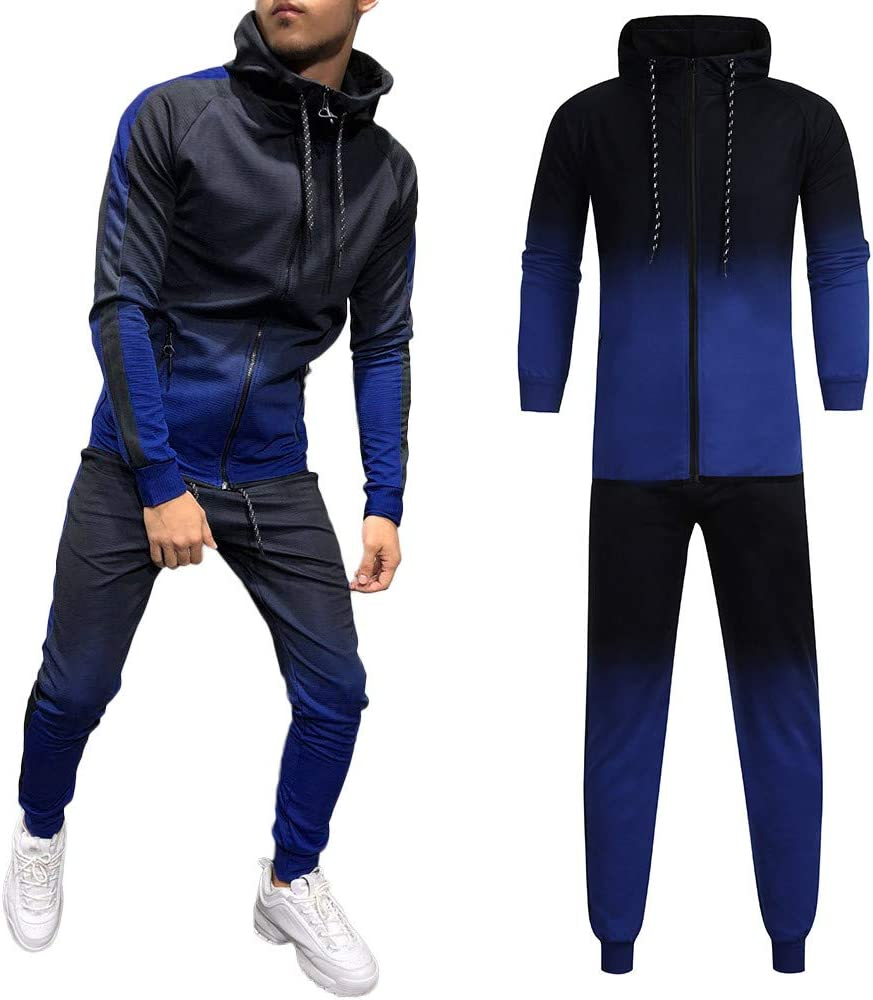 Men Tracksuit Sport Suits,Vanvler Male Printed Sweatshirt Top Drawstring Pants 2 pcs Set Autumn Winter