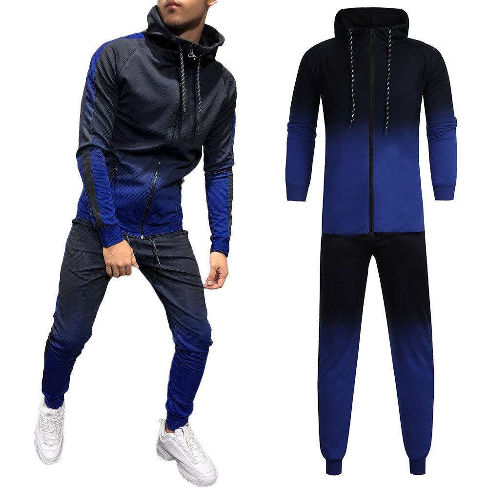 Mens Tracksuit Set,Vanvler Male Autumn Winter Packwork Print Sweatshirt Top Pants Gradient Outfits Sport by Vanvler ♣ Men Coat Jackt
