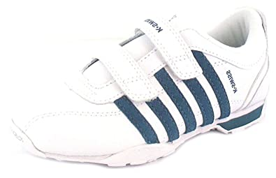 good service 100% genuine lower price with New Kids/Childrens White Leather K-Swiss Velcro Fastening Trainers ...