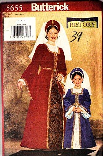 Butterick 5655 Misses Renaissance Medieval Gown Dress Blouse Skirt Headpiece Costume Sewing Pattern Misses Size 8-10-12