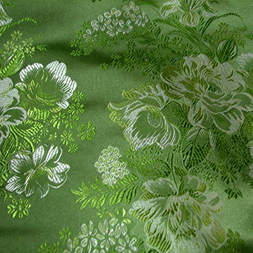 Akika Green/Local Color Jacquard Low-Key Gentle Brocade Cloth Silk Satin Sewing Fabric Cheongsam/100cmx75cm