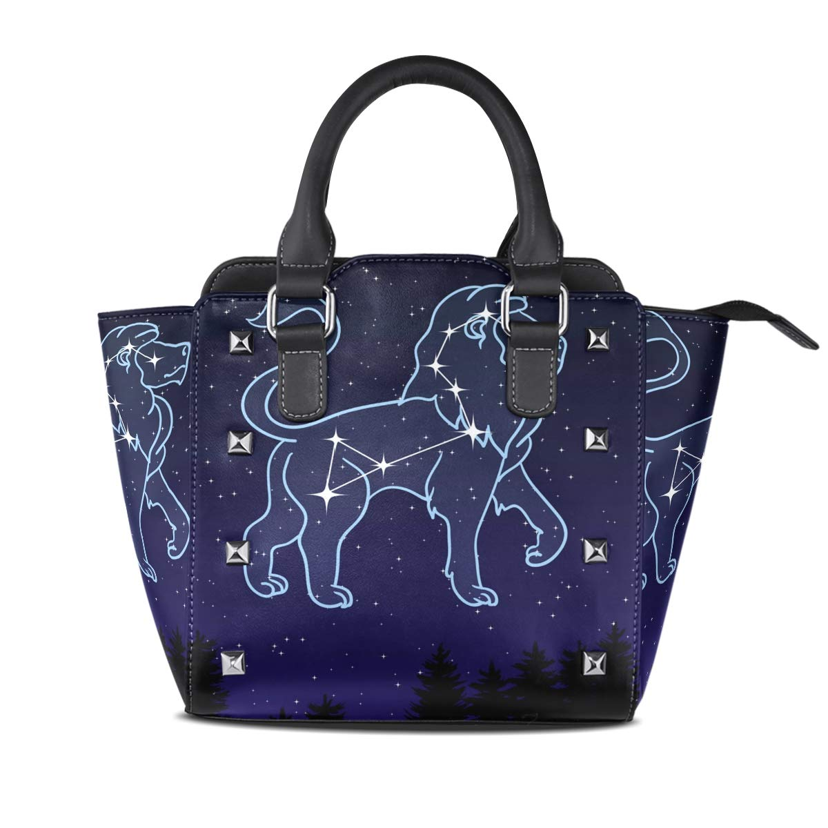 Design4 Handbag Horse Galloping Genuine Leather Tote Rivet Bag Shoulder Strap Top Handle Women
