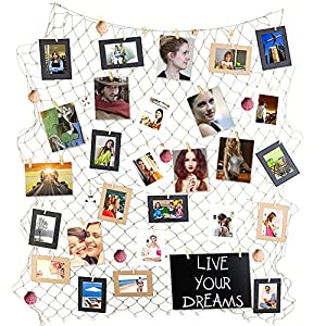 Ecjiuyi Photo Hanging Display Frames, 79 x 40inch Mediterranean Fishing Net Wall Decorations with 30 Clips,Picture Cards Collage Artworks Organizer