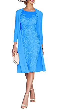 0f713a9f8cccf8 JYDress Women's Lace Mother of The Groom Dresses Tea Length with Jacket at Amazon  Women's Clothing store: