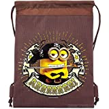 Despicable Me Minions Authentic Licensed Drawstring Bag Backpack (Brown) For Sale