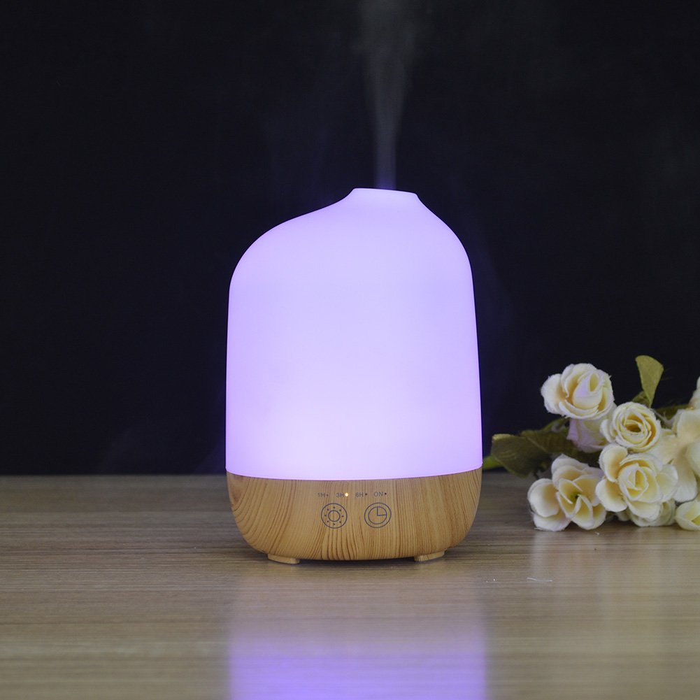 yanQxIzbiu Essential Oil Diffuser Wood Grain Mini Air Aroma Humidifier LED Colorful Light Aromatherapy Oil Diffuser - UK Plug Light Wood Grain for Bedroom Living Room Study Yoga Spa
