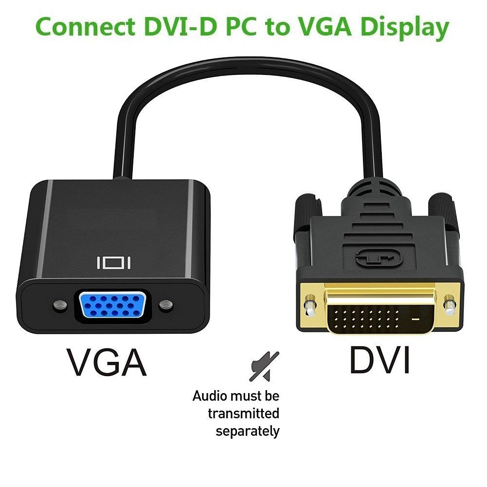 M // F DVI D 24 H/ôte PC DIGMALL 1080P Actif DVI-D Adaptateur M/âle /à VGA Femelle Convertisseur Vid/éo 1 /à VGA pour Ordinateur Portable Carte Graphique Connexion /à /Écran Moniteur ou Projecteur