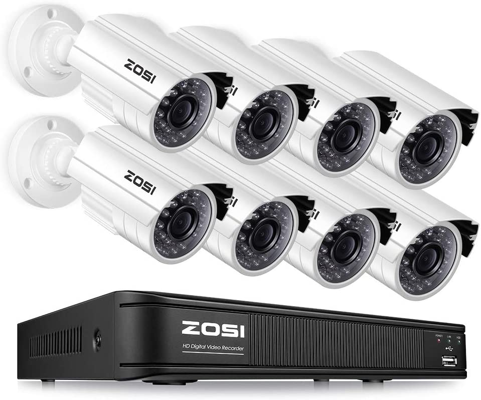 ZOSI 1080p Home Security Camera System,CCTV DVR 8 Channel and 8 1080p Surveillance Bullet Camera Outdoor Indoor, Remote Access, Motion Detection No Hard Drive