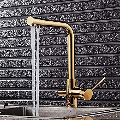 HXC-HXC 現代のメタルブラシゴールドホットとコールドキッチンダブルコントロール水の蛇口の浴室の洗面シンクの下カウンター盆地バブル水の蛇口セット防錆 蛇口