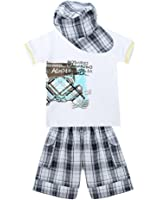 ETOSELL Baby Boy Clothes Car Print Short Sleeve Tops Plaid Shorts Hat