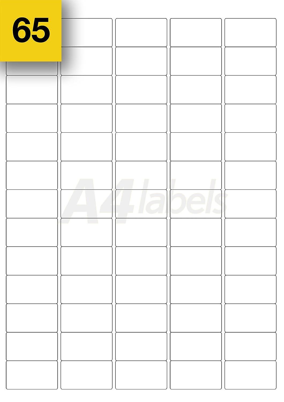 color blanco A4 Labels 38 x 21 mm Etiquetas rectangulares adhesivas para correspondencia 1300 unidades