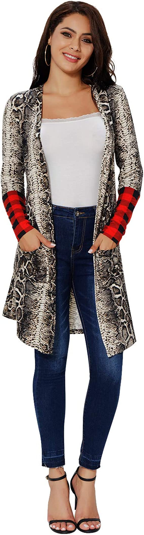 Long Buffalo Plaid Cardigan for Women Plus Size Sweater Open Front Elbow Patch